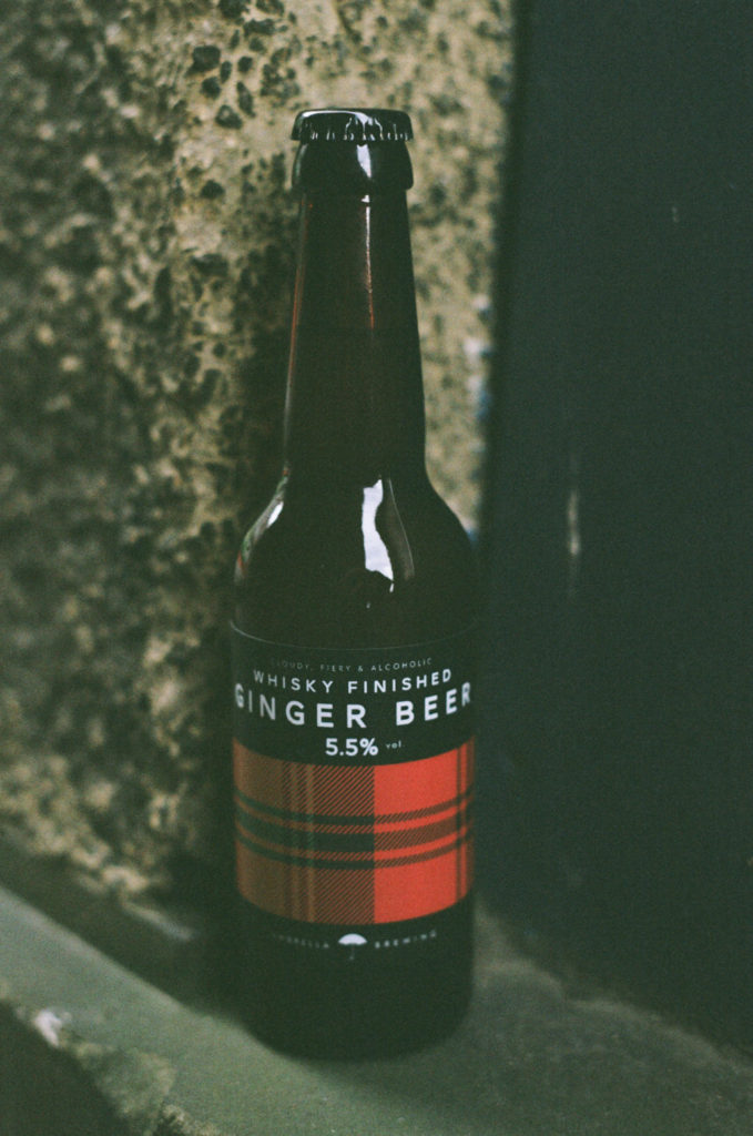 umbrella brewing whisky finished alcoholic ginger beer dewar's